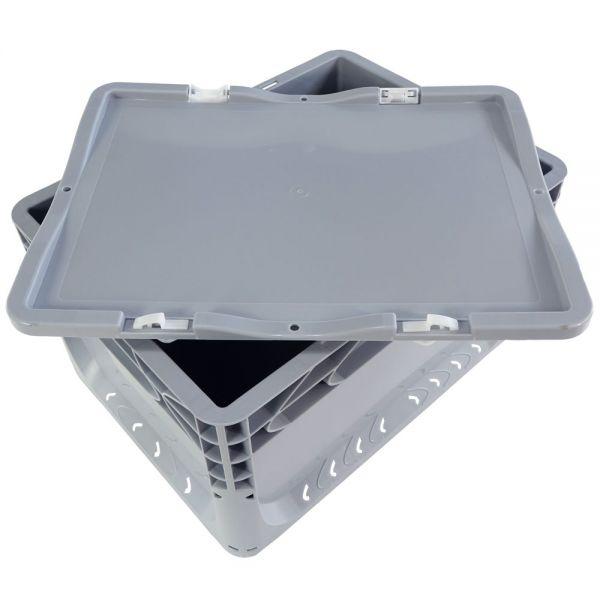 400x300 mm Scharnierdeckel grau für Euronorm Behälter