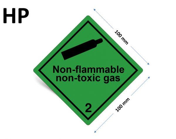 1000 Stück Gefahrgut-Kennzeichnung Klasse 2.2, mit Text: Non-flammable, non-toxic gas