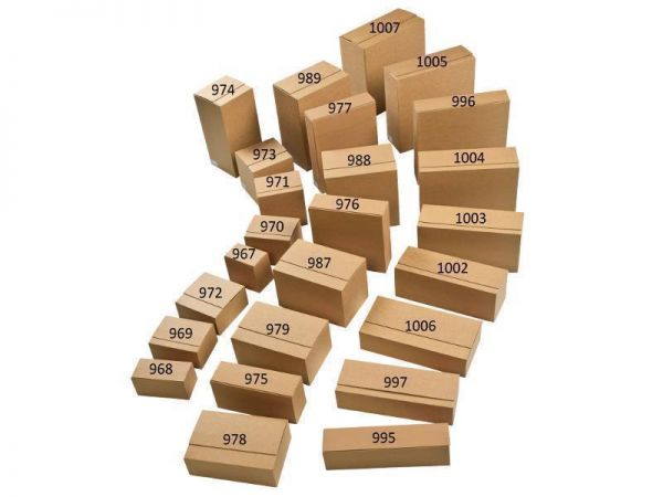 10 Stück: 394x194x87 mm Paletten-System-Kartons