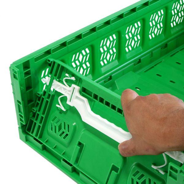 600x400x230 mm Klappbox blau mit Aktiv Verschluss durchbrochen, Handgriffe offen
