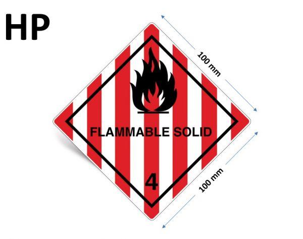 1000 Stück Gefahrgut-Kennzeichnung Klasse 4.1, mit Text: FLAMMABLE SOLID