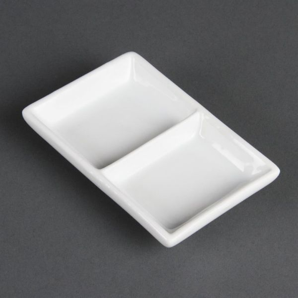 Olympia Whiteware zweifache Präsentierschalen; Inhalt: 12 Stück