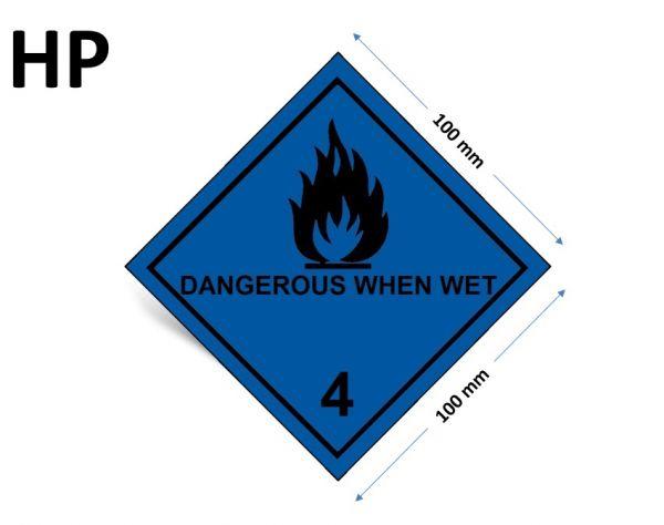 1000 Stück Gefahrgut-Kennzeichnung Klasse 4.3, mit Text: DANGEROUS WHEN WET