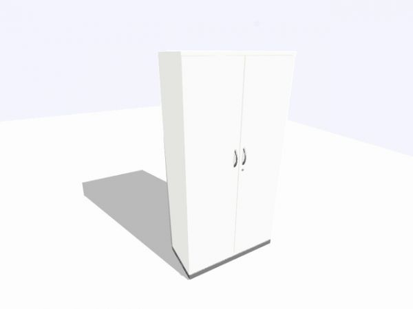 Akten-/Garderobenschrank, 1.000x450x1.980mm, 5OH, perlweiß
