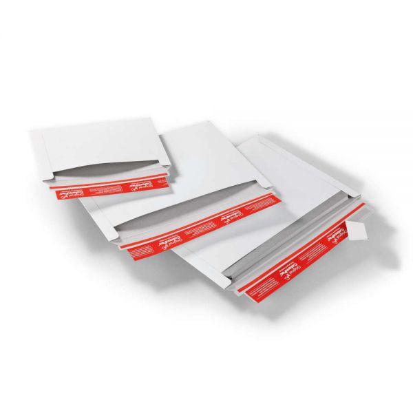 100 Stück: 322x227x0-30 mm Versandtasche aus Vollpappe quer, weiß