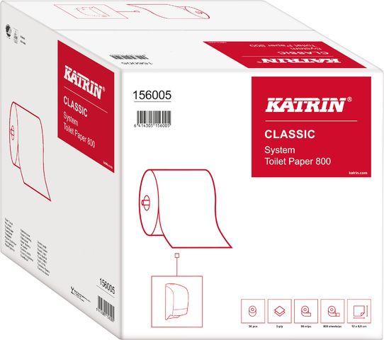 Toilettenpapier Classic System Toilet 800, 2lg., auf Großrolle, weiß