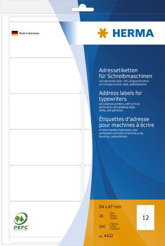Adressetikett, Schreibmaschine, A4-Bg., sk, abger.Ecken, 94x47mm, weiß