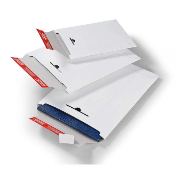 100 Stück: 345x260x0-30 mm Versandtasche aus Vollpappe, weiß
