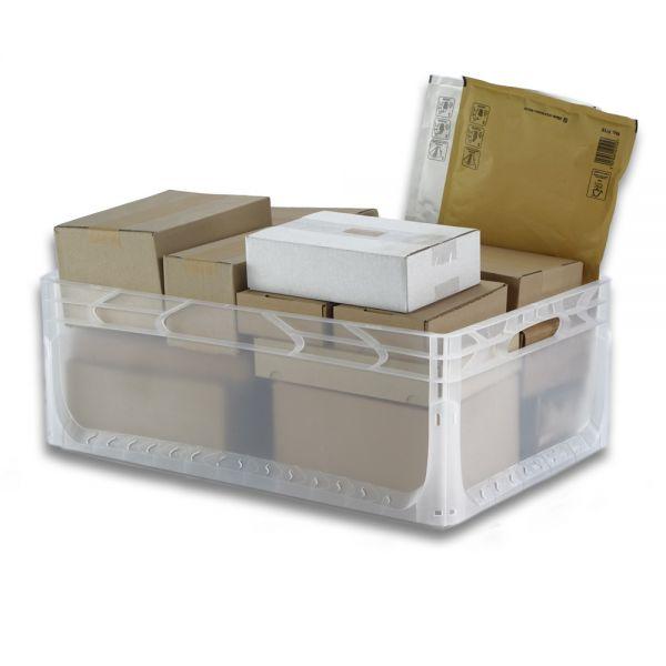 600x400x220 mm Euronorm Behälter transparent geschlossen, Handgriffe offen