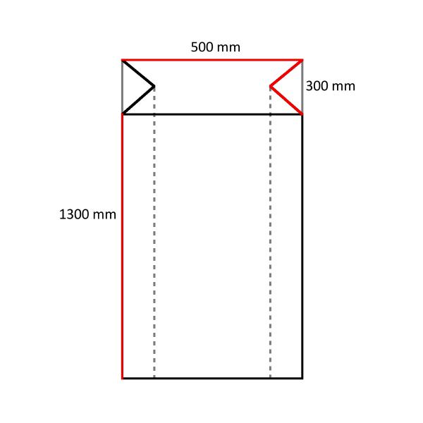 120 LDPE Seitenfaltensäcke 500+300 x 1300 mm, 70 my