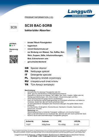 Absorber SC35 BAC-SORB, Dose