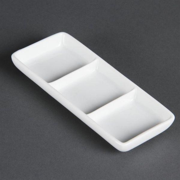 Olympia Whiteware dreifache Präsentierschalen; Inhalt: 12 Stück