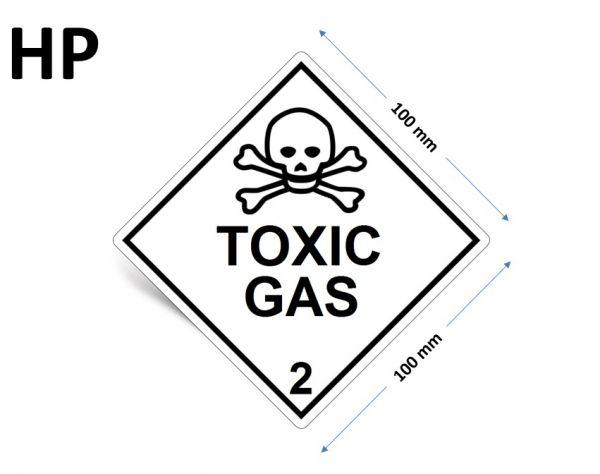 1000 Stück Gefahrgut-Kennzeichnung Klasse 2.3, mit Text: TOXIC GAS
