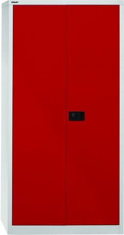 Akten-/Garderobenschrank Universal, 5 Ordnerhöhen, grau, rot