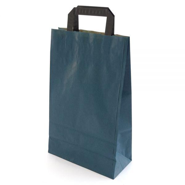 250 Papiertragetaschen mit Griff 220x105x360 mm dunkelblau
