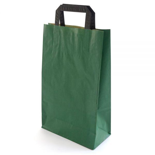 250 Papiertragetaschen mit Griff 220x105x360 mm grün