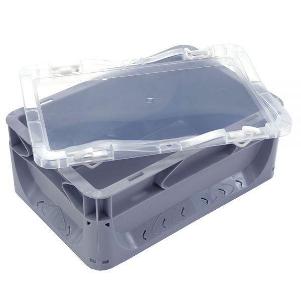 300x200 mm Scharnierdeckel transparent für Euronorm Behälter
