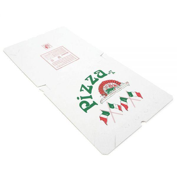 "100 Stück: 325x325x30 mm Pizzakarton ""Treviso"", weiß"