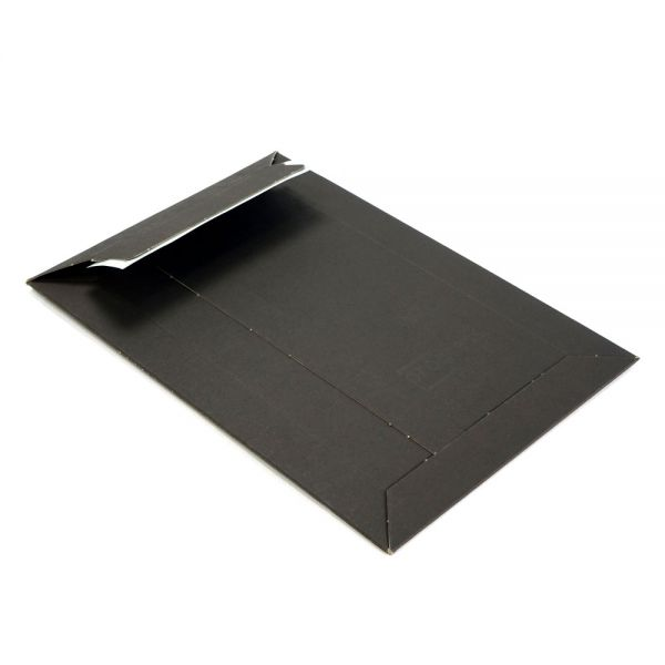 100 Stück: 447x309x0-30 mm Versandtasche aus Vollpappe A3, schwarz