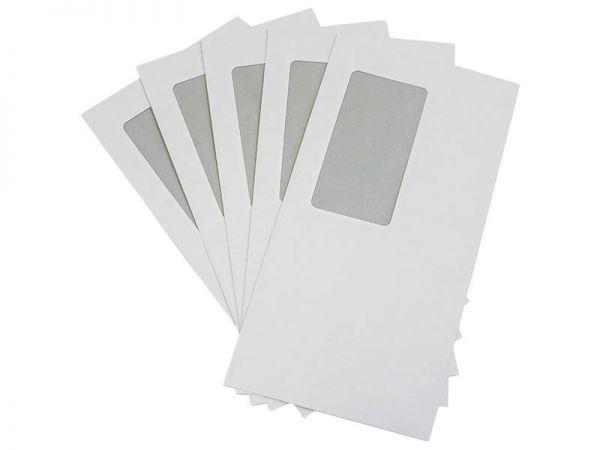 1000 Stück Briefumschläge 110x220 mm weiß, mit Fenster