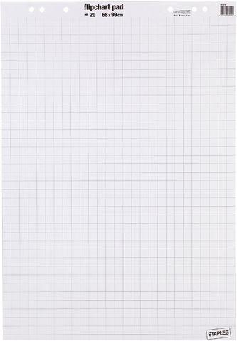 Flipchartblock, kariert/blanko, 68x99cm, 80g/m², hf, weiß, 20 Blatt
