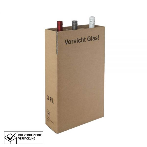 10 Stück: 310x105x380 mm 3er Kombiwell Flaschenkarton Basic