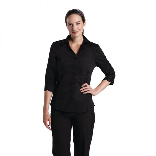 Uniform Works Damen Stretch Hemdbluse dreiviertelarm schwarz XS