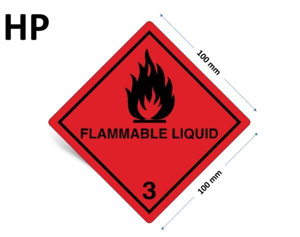 1000 Stück Gefahrgut-Kennzeichnung Klasse 3, mit Text: FLAMMABLE LIQUID