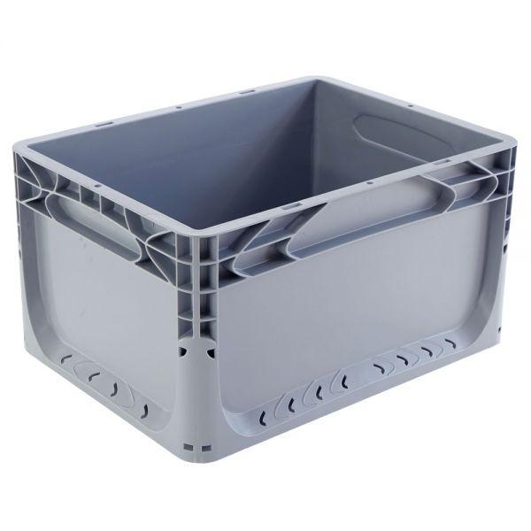 400x300x220 mm Euronorm Behälter grau geschlossen, Handgriffe geschlossen
