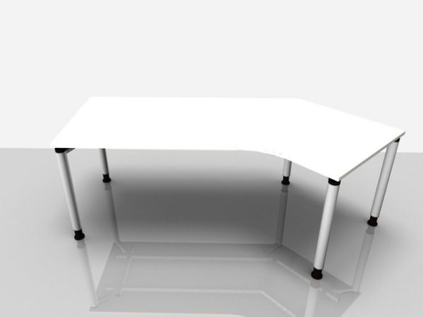 Abgewink.Tisch re. Rialto Pro, 2.170x800/1.000x680-820mm, weiß