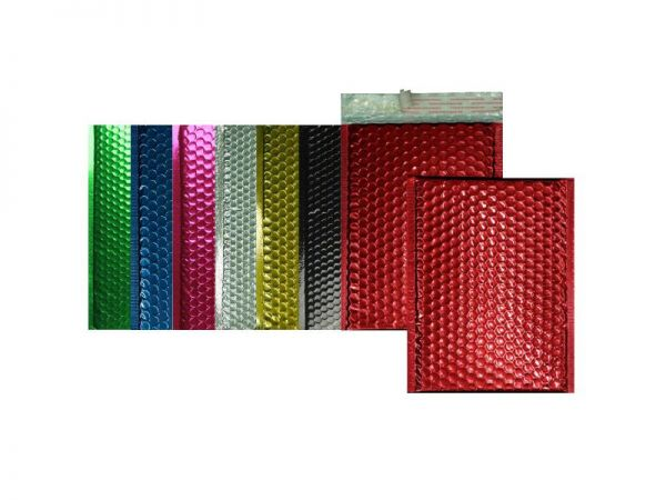 100 farbige Luftpolster-Versandtaschen 170x240 mm, glänzend
