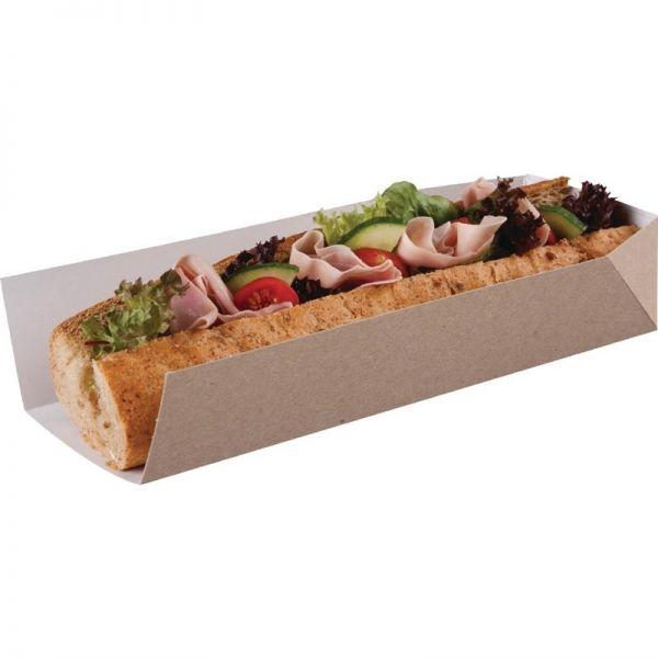 Kompostierbare Baguetteschachtel mit offener Seite 25cm; Inhalt: 500 Stück
