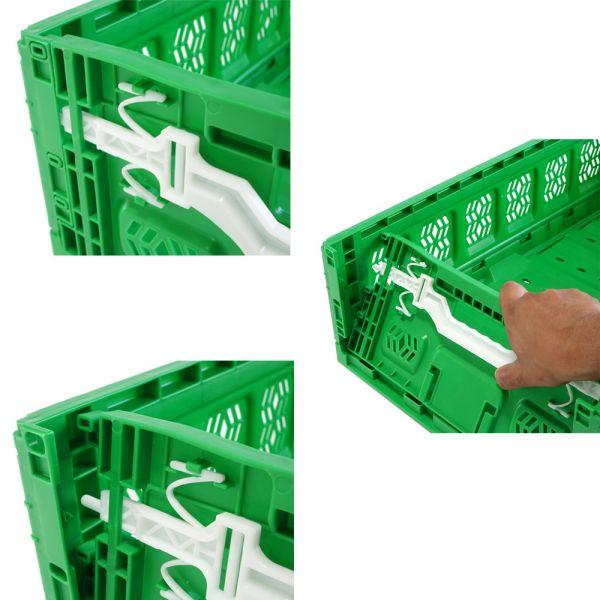 600x400x230 mm Klappbox grün mit Aktiv Verschluss durchbrochen, Handgriffe offen