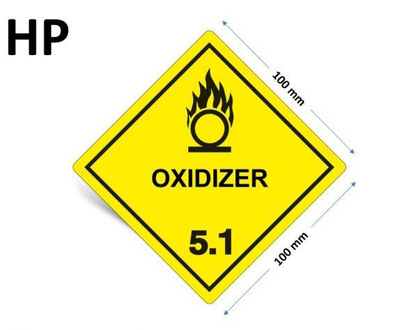 1000 Stück Gefahrgut-Kennzeichnung Klasse 5.1, mit Text: OXIDIZER