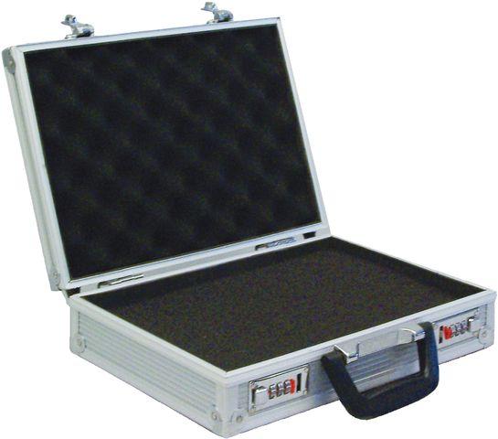 Aktenkoffer, Zahlenschloss, Aluminium, 33 x 22 x 8 cm, silber