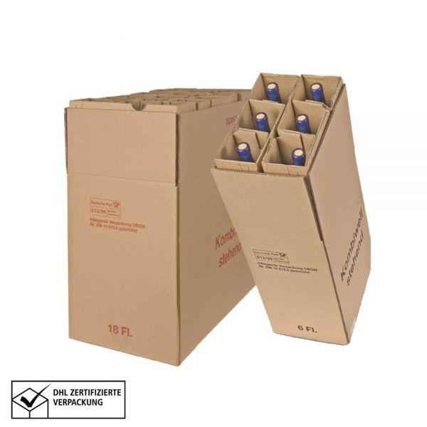 10 Stück: 306x106x404 mm 3er Kombiwell Flaschenkarton stehend