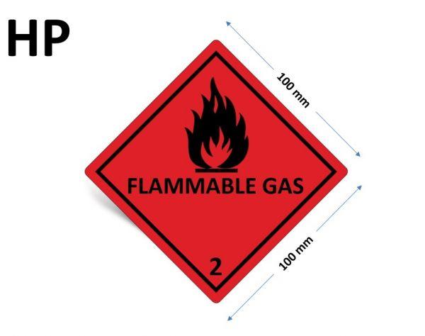 1000 Stück Gefahrgut-Kennzeichnung Klasse 2.1, mit Text: FLAMMABLE GAS