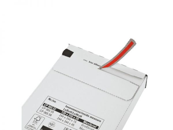 100 Stück: 216x139x29 mm Maxibrief Karton, weiß