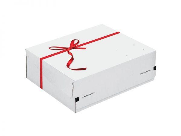 30 Stück: 363x278x125 mm Geschenkkarton grauweiß mit Schleife
