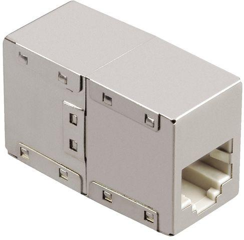 Adapter CAT5e 8p8c, geschirmt, 2 x RJ-45 - Buchse/Buchse, silber
