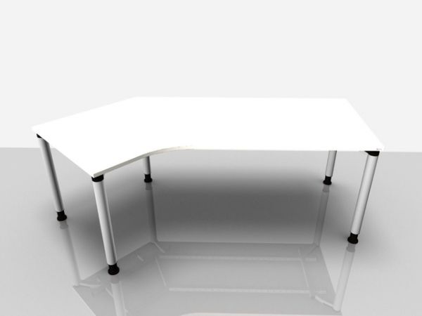 Abgewink.Tisch li. Rialto Pro, 2.170x800/1.000x680-820mm, weiß