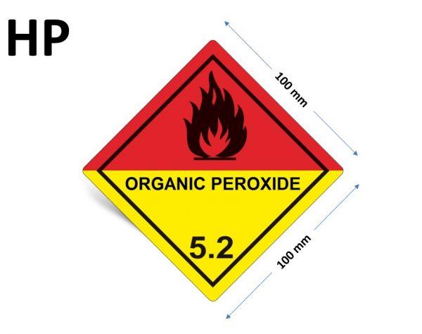 1000 Stück Gefahrgut-Kennzeichnung Klasse 5.2, mit Text: ORGANIC PEROXIDE