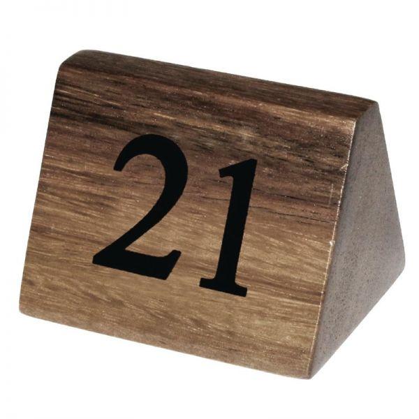 Olympia Tischnummernschilder Akazienholz 21 - 30; Inhalt: 10 Stück