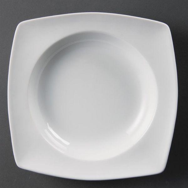 Olympia Whiteware tiefe viereckige Teller 21cm; Inhalt: 4 Stück