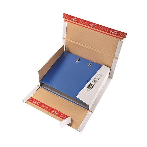 20 Stück: 320x290x35-80 mm Ordner-Verpackung Wiederverschließbar, weiß