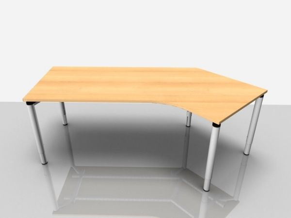 Abgewink.Tisch re. Rialto Pro Komf., 2.170x800/1.000x620-850mm, buche