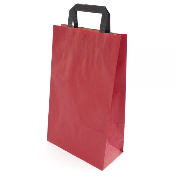 250 Papiertragetaschen mit Griff 220x105x360 mm rot