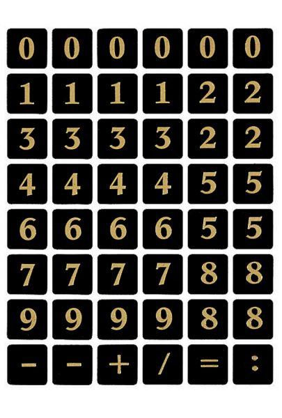 HERMA Zahlen-Sticker 0-9, Folie geprägt, gold auf schwarz, Sie erhalten 2 Blatt