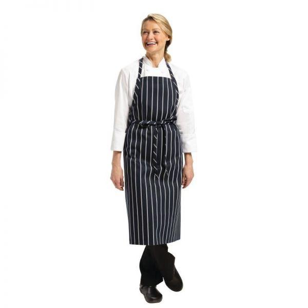 Chef Works Premium Latzschürze marineblau weiß gestreift