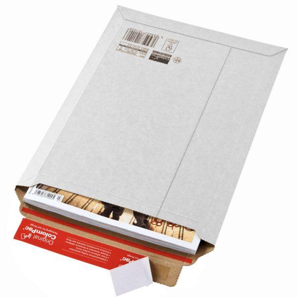 100 Stück: 340x235x0-35 mm Versandtasche aus Wellpappe A4+, weiß